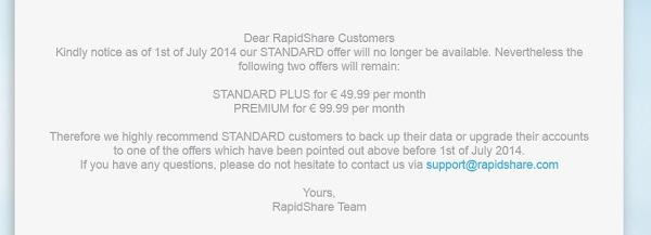 RapidShare закрывает бесплатный хостинг файлов