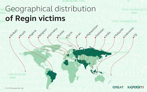 Географическое распределение жертв троянца Regin