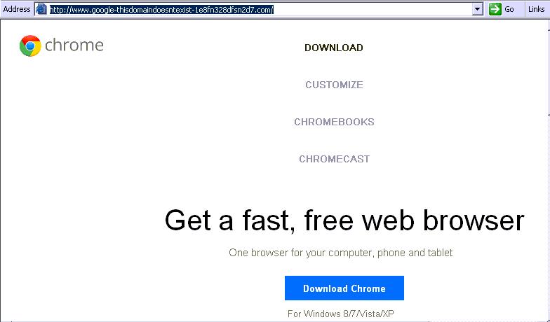 Поддельная веб-страница загрузки Google Chrome