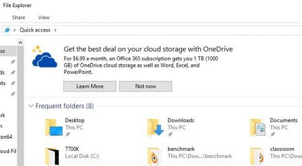 В Проводнике Windows 10 появилась реклама