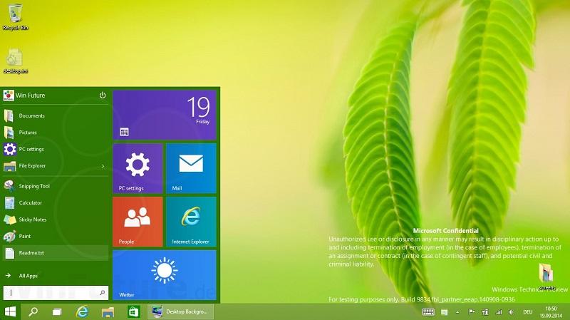 Windows 9: меню «Пуск» меняет цвет в зависимости от фона рабочего стола