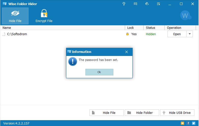 Установлен пароль для скрытой папки в Wise Folder Hider